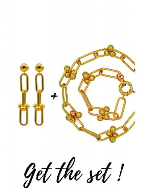 PARURE BIJOUX CADEAU FEMME TIFFANY STYLE Collier + Bracelet + BO
